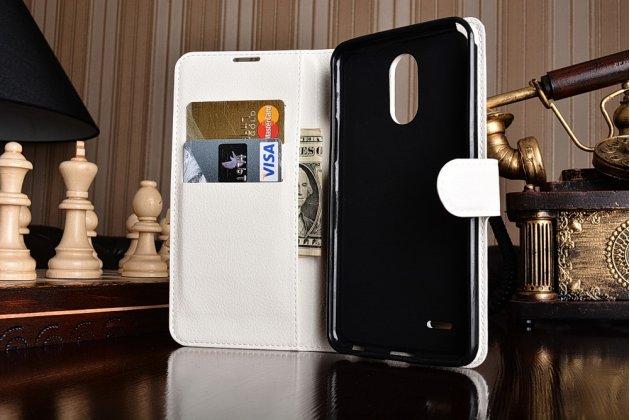 Фирменный чехол-книжка из качественной импортной кожи с подставкой застёжкой и визитницей для LG Stylus 3 M400DY 5.7 белого цвета.