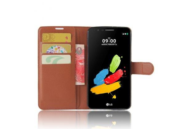 Фирменный чехол-книжка из качественной импортной кожи с подставкой застёжкой и визитницей для LG Stylus 3 M400DY 5.7 коричневого цвета.