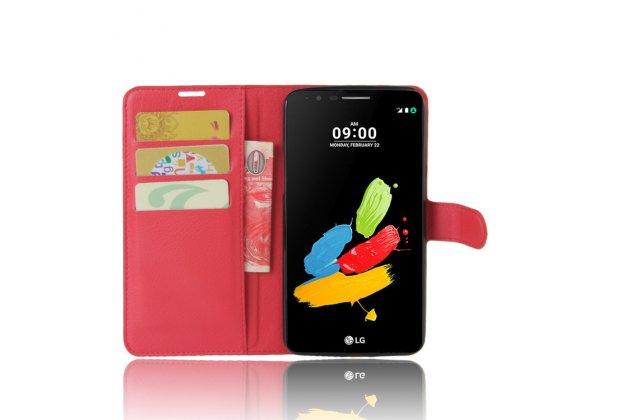 Фирменный чехол-книжка из качественной импортной кожи с подставкой застёжкой и визитницей для LG Stylus 3 M400DY красного цвета.