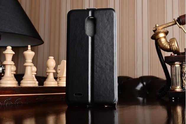 Фирменный оригинальный вертикальный откидной чехол-флип для LG Stylus 3 M400DY 5.7 черный из натуральной кожи Prestige Италия