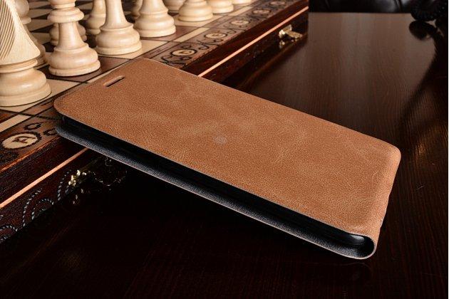 Фирменный оригинальный вертикальный откидной чехол-флип для LG Stylus 3 M400DY 5.7 коричневый из натуральной кожи Prestige Италия