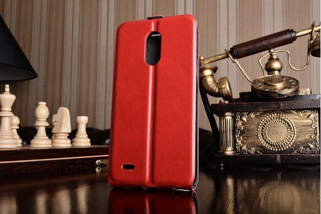 Фирменный оригинальный вертикальный откидной чехол-флип для LG Stylus 3 M400DY 5.7 красный из натуральной кожи Prestige Италия