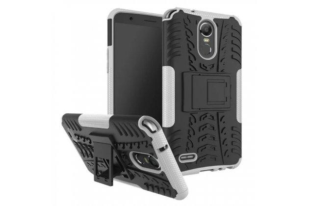Противоударный усиленный ударопрочный фирменный чехол-бампер-пенал для LG Stylus 3 M400DY 5.7 белый.