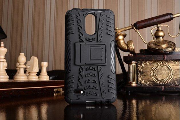 Противоударный усиленный ударопрочный фирменный чехол-бампер-пенал для LG Stylus 3 M400DY 5.7 черный