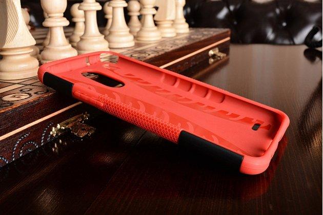 Противоударный усиленный ударопрочный фирменный чехол-бампер-пенал для LG Stylus 3 M400DY 5.7 красный