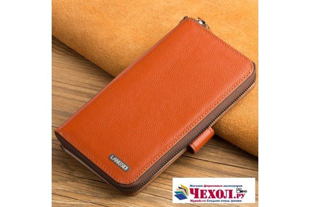 Фирменный чехол-портмоне-клатч-кошелек на силиконовой основе из качественной импортной кожи для LG V30  Plus коричневый