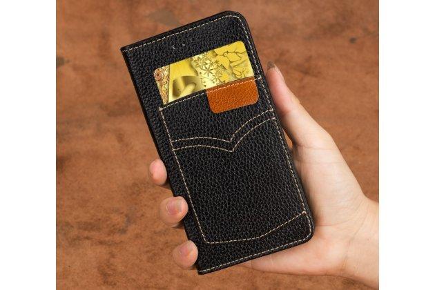Фирменный премиальный элитный чехол-книжка из качественной импортной кожи с мульти-подставкой и визитницей для LG V30  Plus черный