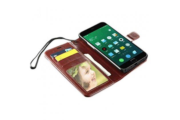 Фирменный чехол-книжка из качественной импортной кожи с подставкой застёжкой и визитницей для LG V30  Plus голубой