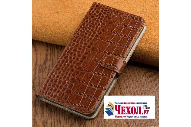 Фирменный роскошный эксклюзивный чехол с фактурной прошивкой рельефа кожи крокодила и визитницей коричневый для LG V30  Plus. Только в нашем магазине. Количество ограничено