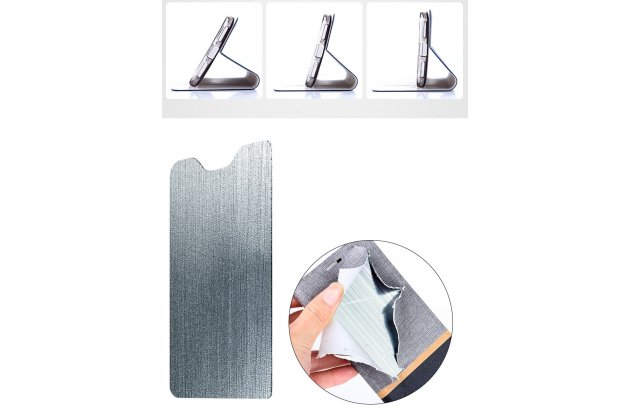 Фирменный чехол-книжка водоотталкивающий с мульти-подставкой на жёсткой металлической основе для LG V30  Plus синий из настоящей джинсы