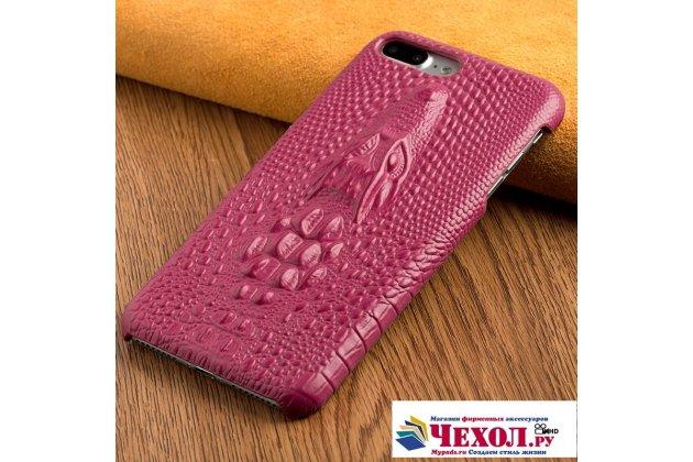Фирменная роскошная эксклюзивная накладка с объёмным 3D изображением рельефа кожи крокодила розовая для LG V30  Plus. Только в нашем магазине. Количество ограничено