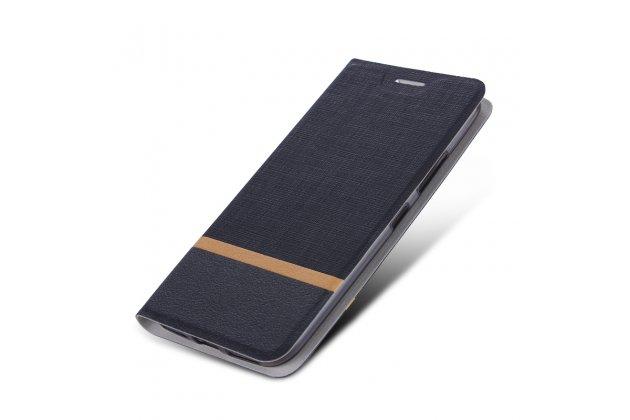 Фирменный чехол-книжка водоотталкивающий с мульти-подставкой на жёсткой металлической основе для LG V30  Plus черный из настоящей джинсы