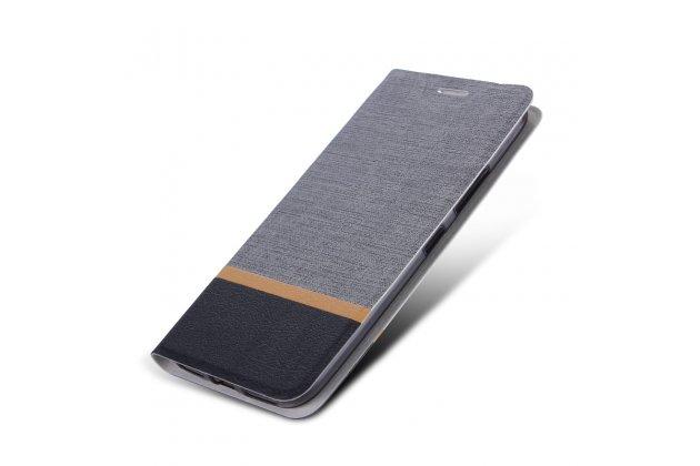 Фирменный чехол-книжка водоотталкивающий с мульти-подставкой на жёсткой металлической основе для LG V30  Plus серый из настоящей джинсы