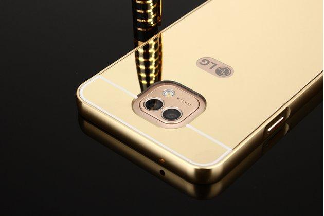 Фирменная металлическая задняя панель-крышка-накладка из тончайшего облегченного авиационного алюминия для LG X cam K580DS золотая