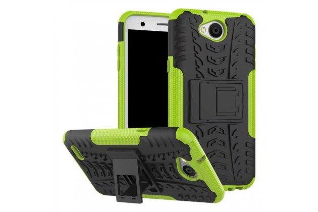 Противоударный усиленный ударопрочный фирменный чехол-бампер-пенал для LG X power 2 M320 5.5 зеленый