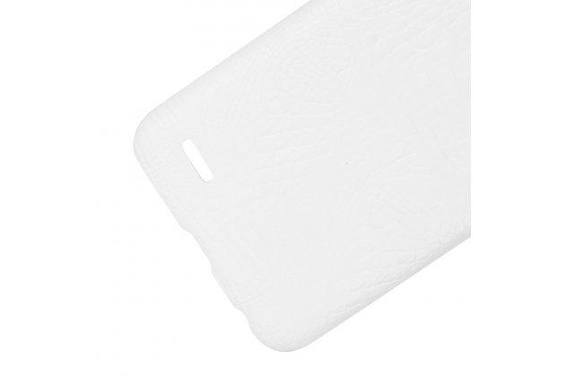 Фирменная роскошная элитная премиальная задняя панель-крышка на пластиковой основе обтянутая лаковой кожей крокодила  для LG X power 2 M320 5.5 белый