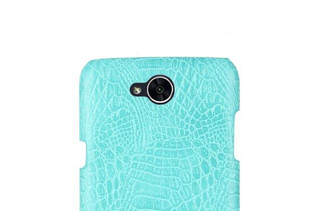 Фирменная роскошная элитная премиальная задняя панель-крышка на пластиковой основе обтянутая лаковой кожей крокодила  для LG X power 2 M320 5.5 бирюзовый
