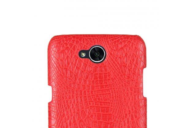 Фирменная роскошная элитная премиальная задняя панель-крышка на пластиковой основе обтянутая лаковой кожей крокодила  для LG X power 2 M320 5.5 красный