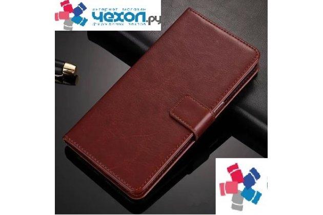 Фирменный чехол-книжка из качественной импортной кожи с мульти-подставкой застёжкой и визитницей для LG X Power 2 M320/ Fiesta LTE коричневый