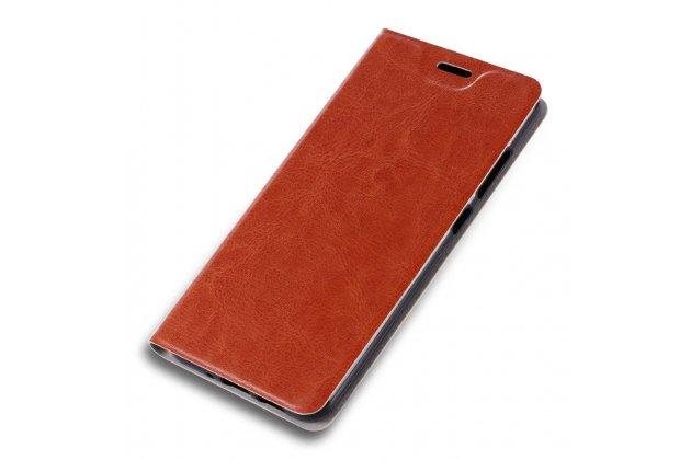 Фирменный чехол-книжка с мульти-подставкой на жёсткой металлической основе для LG X Power 2 M320/ Fiesta LTE коричневый
