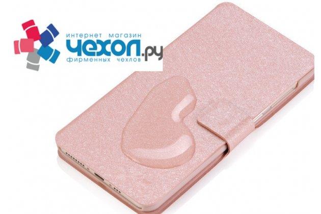 Фирменный роскошный чехол-книжка безумно красивый декорированный бусинками и кристаликами на LG X Power 2 M320/ Fiesta LTE розовый