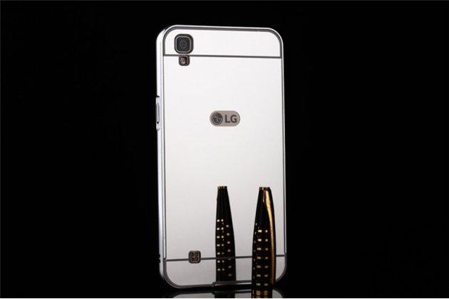 Фирменная металлическая задняя панель-крышка-накладка из тончайшего облегченного авиационного алюминия для LG X Power K220DS 5.3 серебристая