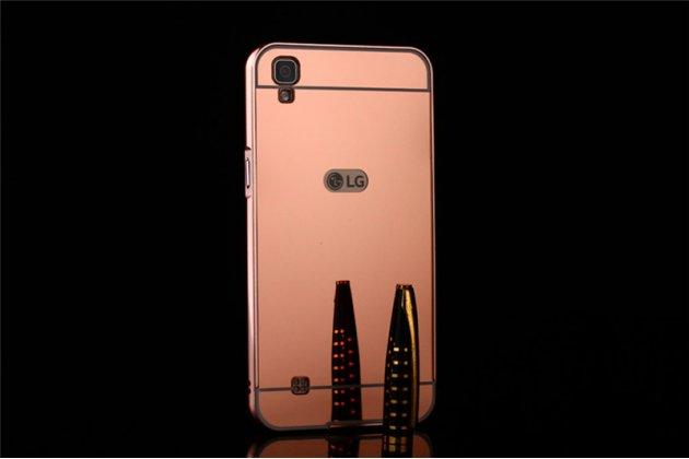 Фирменная металлическая задняя панель-крышка-накладка из тончайшего облегченного авиационного алюминия для LG X Power K220DS 5.3 розовое золото