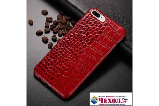 Фирменная элегантная экзотическая задняя панель-крышка с фактурной отделкой натуральной кожи крокодила красная для LG X Power K220DS 5.3. Только в нашем магазине. Количество ограничено.
