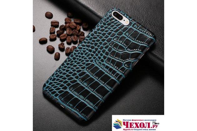 Фирменная элегантная экзотическая задняя панель-крышка с фактурной отделкой натуральной кожи крокодила синяя для LG X Power K220DS 5.3. Только в нашем магазине. Количество ограничено.