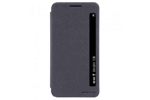 Фирменный оригинальный чехол-книжка для LG X Power K220DS 5.3 черный водоотталкивающий с окошком для входящих вызовов