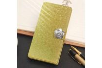 Фирменный роскошный чехол-книжка безумно красивый декорированный бусинками и кристаликами на LG X Power K220DS 5.3 золотой