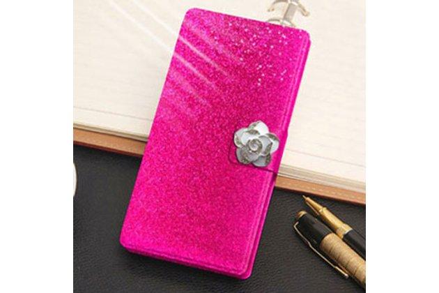 Фирменный роскошный чехол-книжка безумно красивый декорированный бусинками и кристаликами на LG X Power K220DS 5.3 розовый