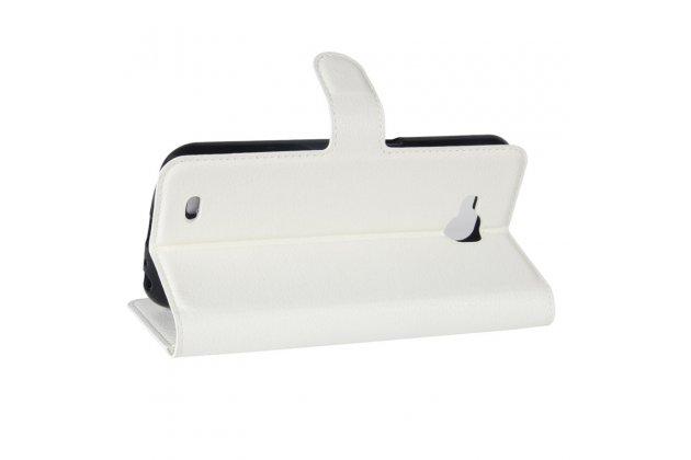 Фирменный чехол-книжка из качественной импортной кожи с подставкой застёжкой и визитницей для Лджи X Вентура M710ДС / В9 белый