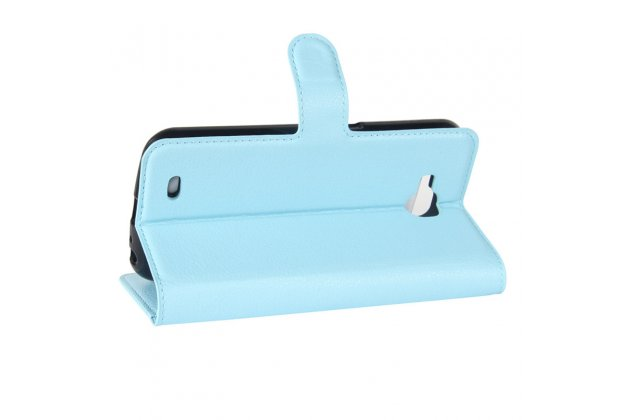 Фирменный чехол-книжка из качественной импортной кожи с подставкой застёжкой и визитницей для Лджи X Вентура M710ДС / В9 голубой