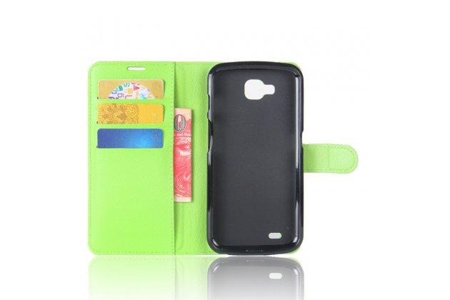 Фирменный чехол-книжка из качественной импортной кожи с подставкой застёжкой и визитницей для Лджи X Вентура M710ДС / В9 зеленый