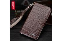 Фирменный роскошный эксклюзивный чехол с фактурной прошивкой рельефа кожи крокодила и визитницей коричневый для Meizu M3E (A680H) 5.5. Только в нашем магазине. Количество ограничено