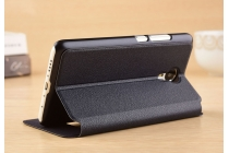 Фирменный чехол-книжка для Meizu M3E (A680H) 5.5 черный с окошком для входящих вызовов и свайпом водоотталкивающий