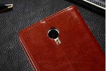 Фирменный чехол-книжка из качественной импортной кожи с подставкой застёжкой и визитницей для Meizu M3E (A680H) 5.5 коричневый