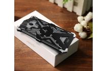 Противоударный металлический чехол-бампер из цельного куска металла с усиленной защитой углов и необычным экстремальным дизайном для Meizu M3E (A680H) 5.5 черного цвета