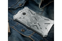 Противоударный металлический чехол-бампер из цельного куска металла с усиленной защитой углов и необычным экстремальным дизайном для Meizu M3E (A680H) 5.5 серебристого цвета
