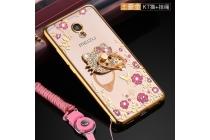 """Фирменная задняя панель-чехол-накладка из прозрачного 3D  силикона с объёмным рисунком для Meizu M3E (A680H) 5.5  тематика """"Золотые Цветы"""" которая огибает логотип чтобы была видна марка телефона"""