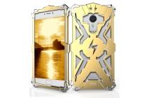Противоударный металлический чехол-бампер из цельного куска металла с усиленной защитой углов и необычным экстремальным дизайном для Meizu M3E (A680H) 5.5 золотого цвета