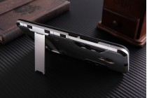 Противоударный усиленный ударопрочный фирменный чехол-бампер-пенал для Meizu M3E (A680H) 5.5 серебристый