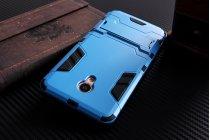 Противоударный усиленный ударопрочный фирменный чехол-бампер-пенал для Meizu M3E (A680H) 5.5 синий