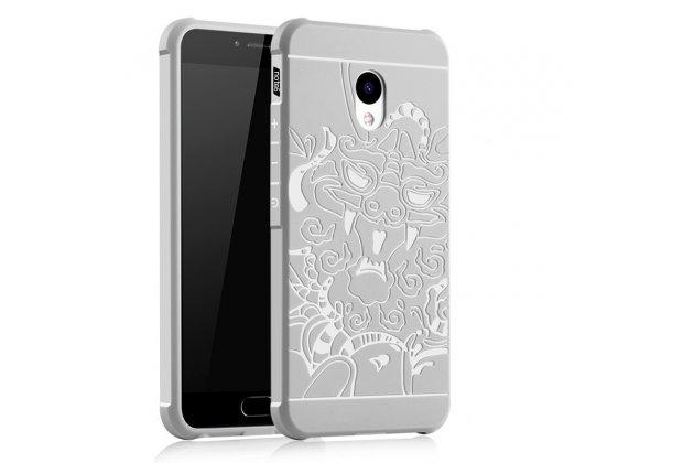Фирменная роскошная задняя панель-чехол-накладка из мягкого силикона с объемным 3D изображением на Meizu M5 (M611A) 5.2 белая
