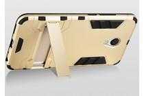 Задняя панель-крышка из прочного пластика с матовым противоскользящим покрытием для Meizu M5 (M611A) 5.2 с подставкой в черном цвете