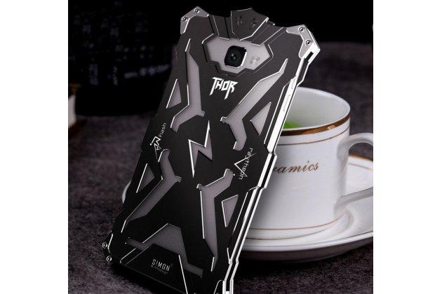 Противоударный металлический чехол-бампер из цельного куска металла с усиленной защитой углов и необычным экстремальным дизайном для Meizu M5 (M611A) 5.2 черного цвета
