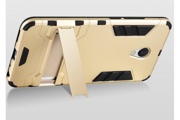 Задняя панель-крышка из прочного пластика с матовым противоскользящим покрытием для Meizu M5 (M611A) 5.2 с подставкой в красном цвете