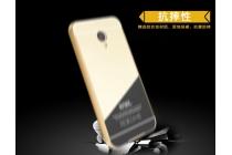 Фирменная металлическая задняя панель-крышка-накладка из тончайшего облегченного авиационного алюминия для Meizu M5 (M611A) 5.2 серебристая