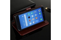 Фирменный чехол-книжка из качественной импортной кожи с подставкой застёжкой и визитницей для Meizu M5 (M611A) 5.2 коричневый